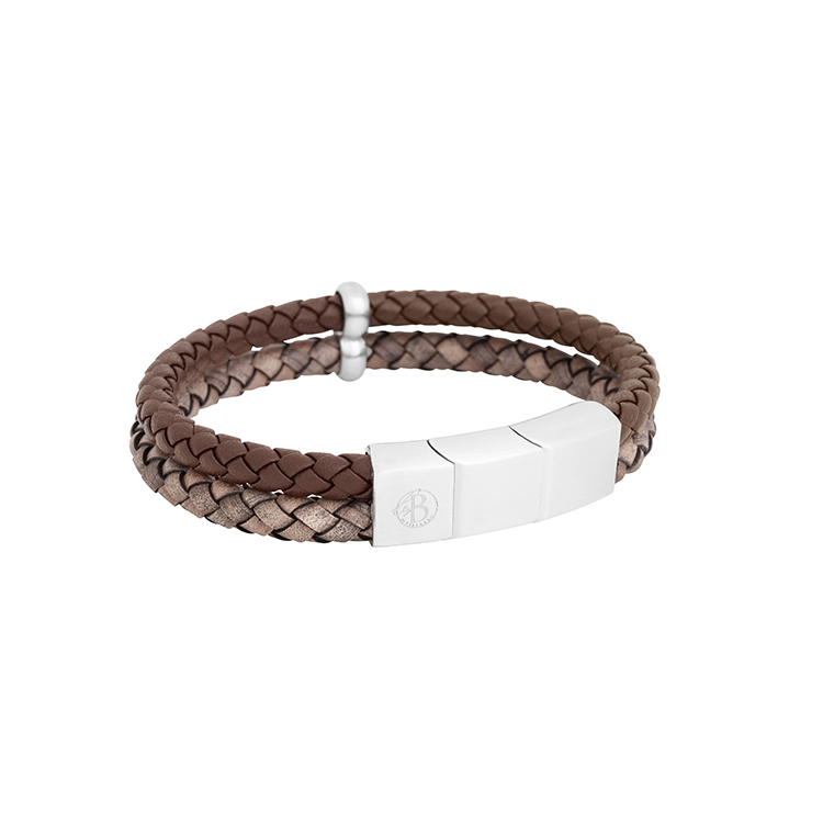 Leather bracelet, double, brown/grey
