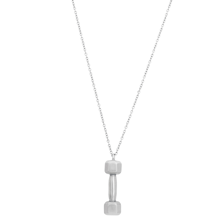 Halsband, hantel, stål/silver
