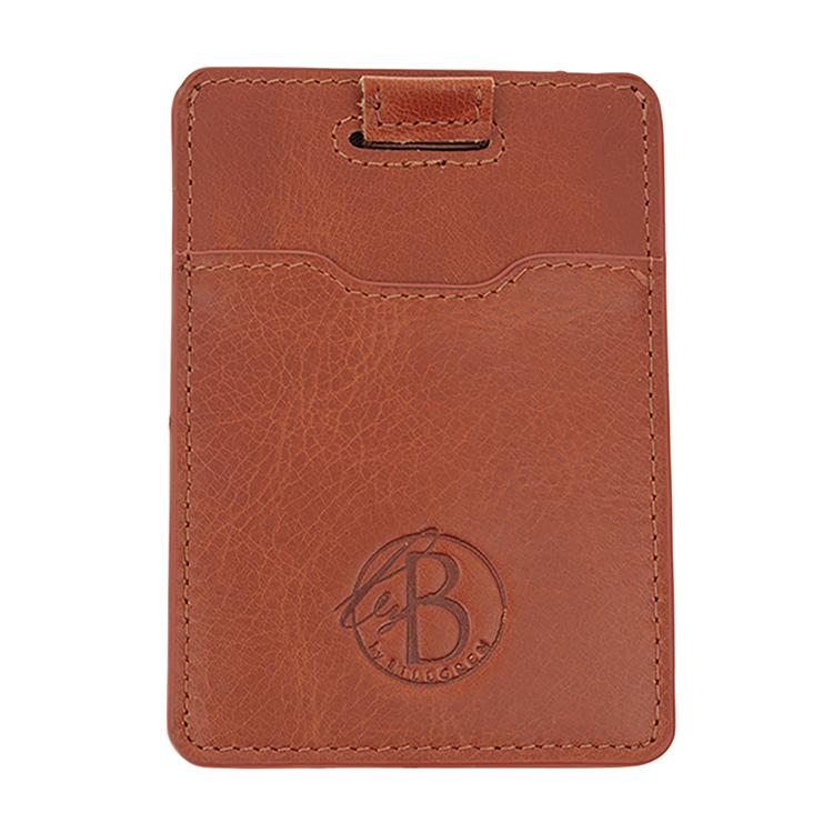 Slim card holder, cognac / leather