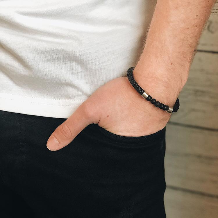 Läderarmband/beads, svart/stål