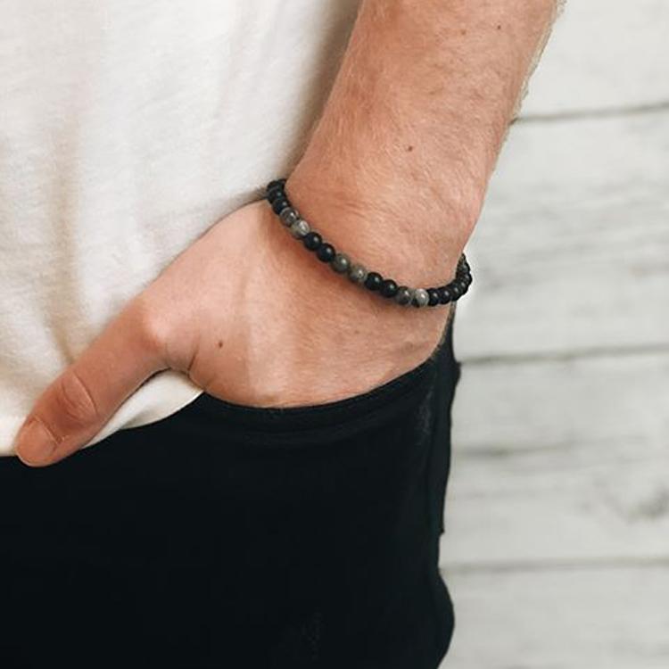 Beads bracelet, Jaspis + Onyx, grey/black