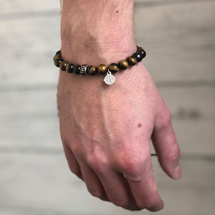 Beadsarmband, brun/silver