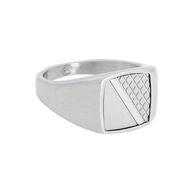 Signet ring, stainless steel, silver