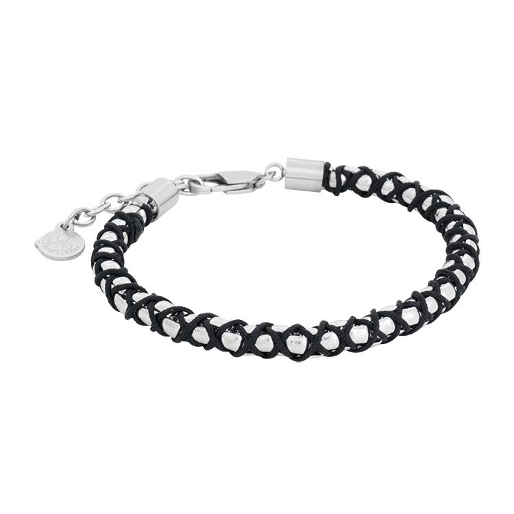 Steel bracelet, black rope