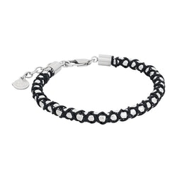 Steel bracelet, black rope