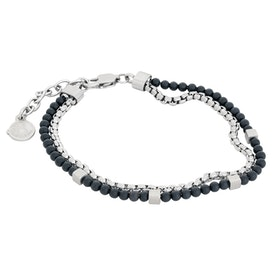 Narrow steel bracelet, onyx
