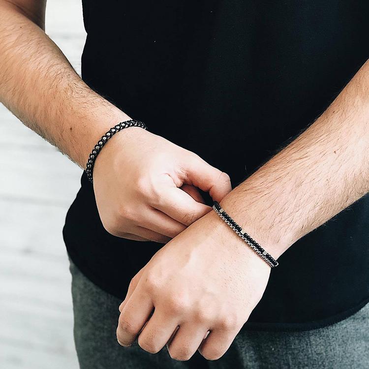 Narrow steel bracelet, onyx