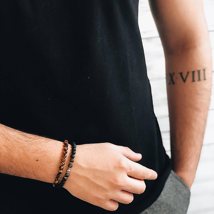 Beads bracelet, tiger eye, lava stone, steel