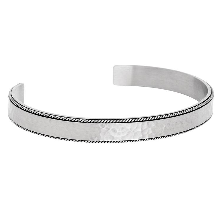 Armband cuff, hamrad, matt stål