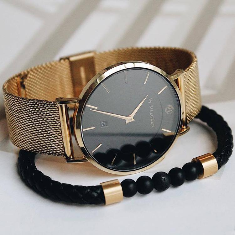 Douglas klocka, guld, mesh + läderarmband med beads set
