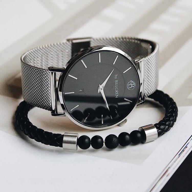 Douglas klocka, mesh + läderarmband beads, svart set