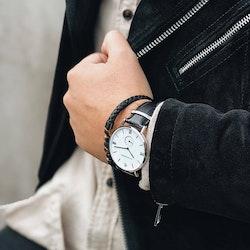 Gustaf klocka, svart + läderarmband, beads, tigeröga set