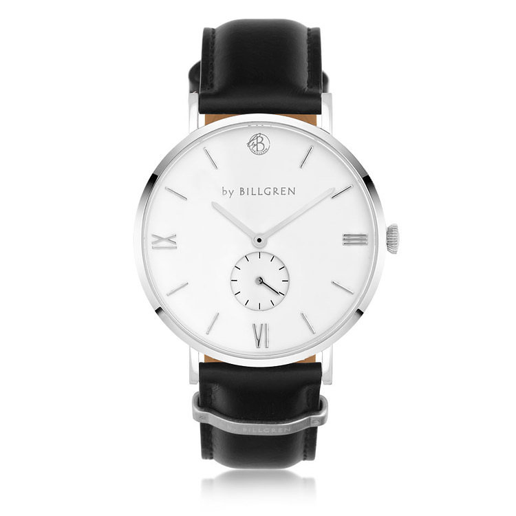 Gustaf watch, black + leather bracelet, beads, tiger eye set