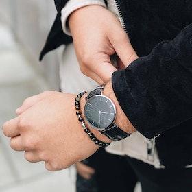 Douglas watch, black croco + bead bracelet, tiger eye set