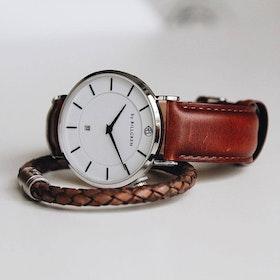 Douglas klocka, läder, brun + läderarmband, vintage grå/beige set