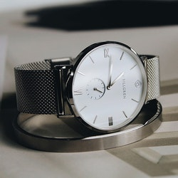 Gustaf watch, silver, mesh + cuff, live passionately set
