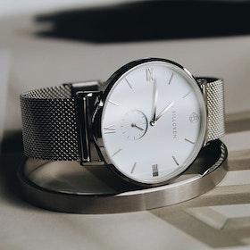 Gustaf watch, silver, mesh + cuff, live passionately set