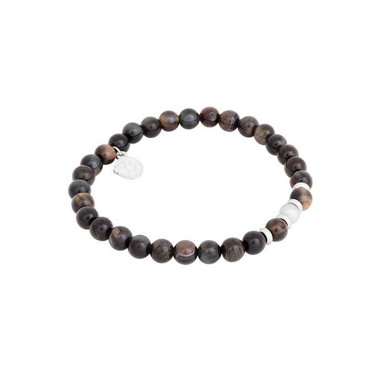 Douglas klocka, svart croco + beadsarmband, tigeröga set