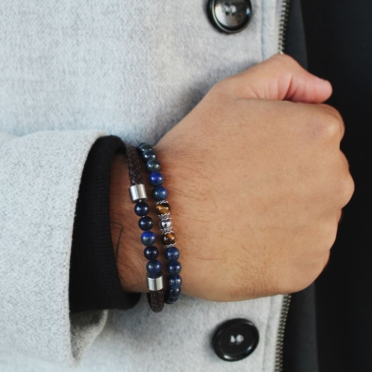 Armbandsset, beads/läder, brun/blå