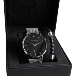 Douglas watch, mesh + leather bracelet beads, black set