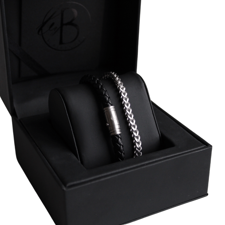 Bracelet set, chain/beads, steel/black