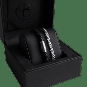 Armbandsset, kedja/beads, stål/svart