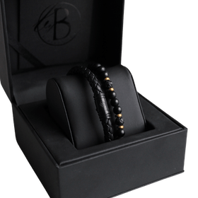 Armbandsset, beads/läder, svart/guld