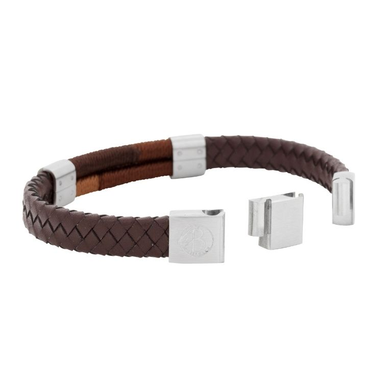 Leather bracelet, twisted, brown