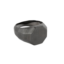 Signet ring, raw, dark smoke