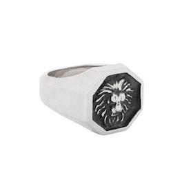 Klackring, lion, silver