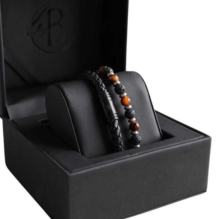 Armbandsset, läder/beads, mattsvart/brun