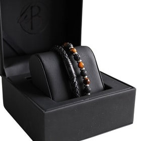 Bracelet set, leather/beads, black/brown