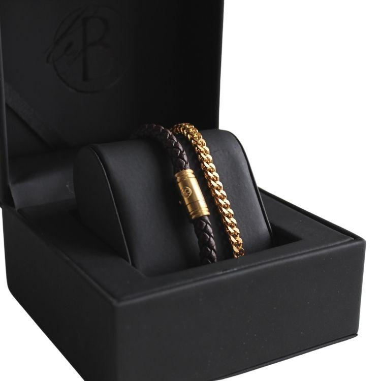 Bracelet set, leather/steel, brown/gold