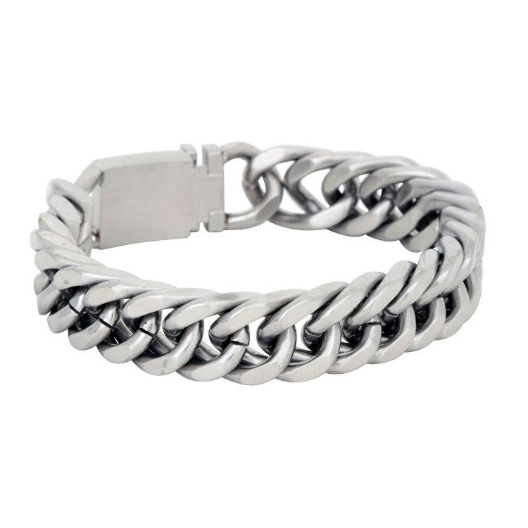 Stålarmband, G, silver
