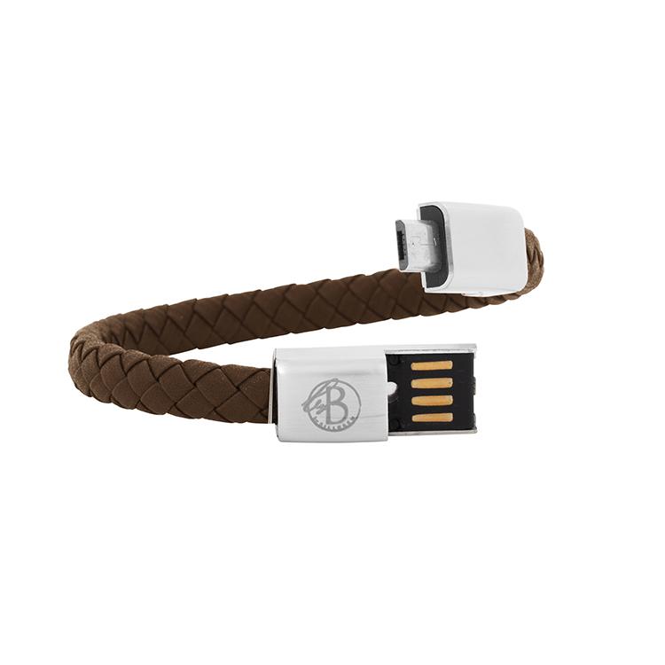 Laddningsarmband, Micro-USB Android, Brun