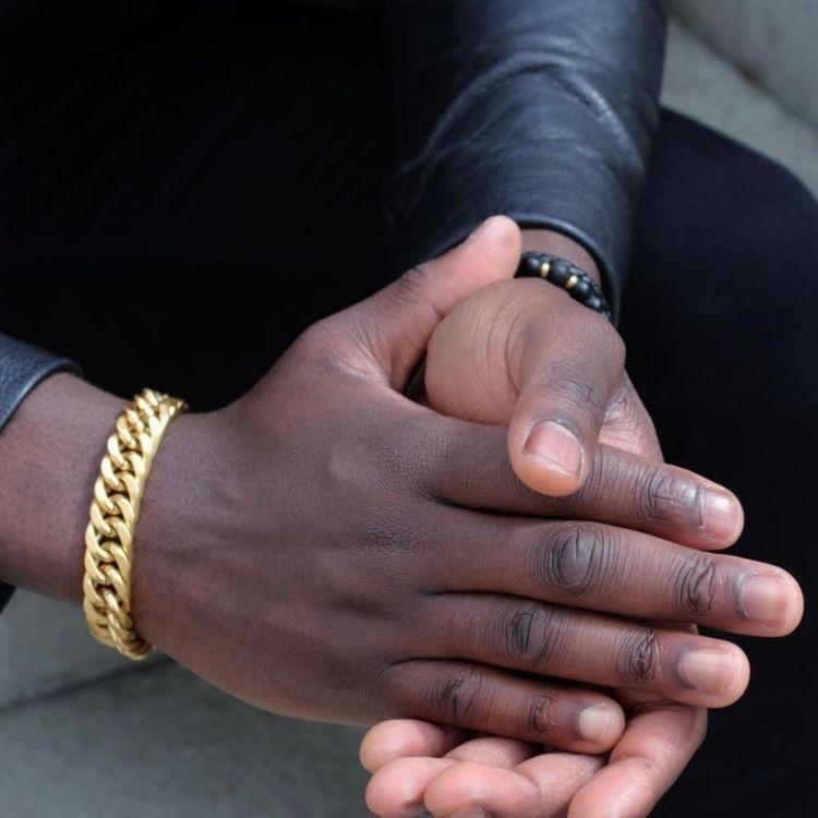 Stålarmband, G, guld