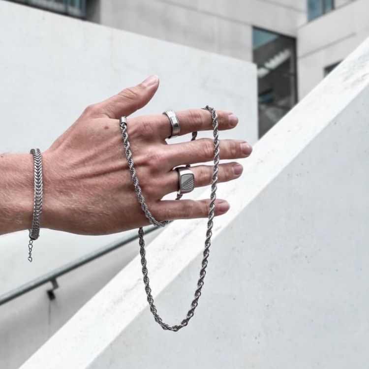 Halsband, twisted, silver