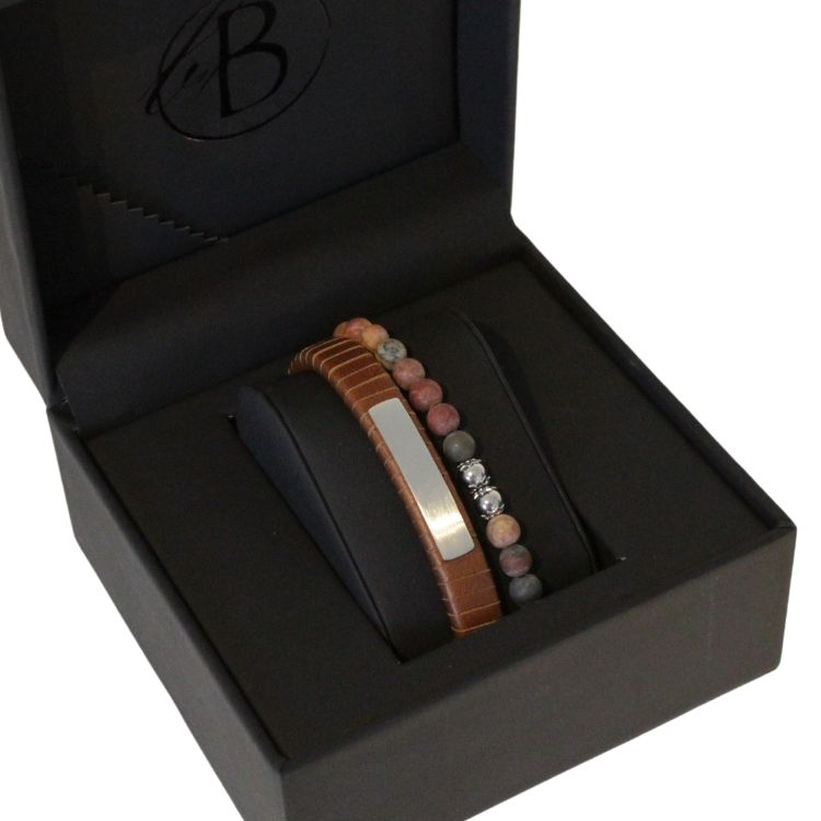 Armbandsset, läder/beadsarmband, brun