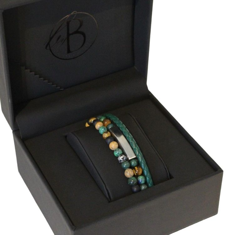 Armbandsset, läder/beadsarmband, grön