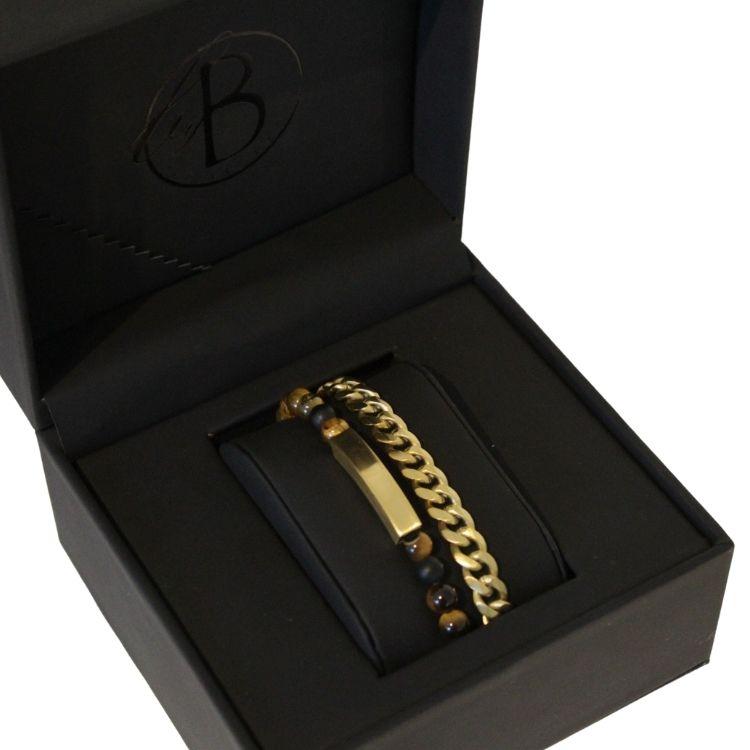 Armbandsset, beads/stålarmband, brunt/guld