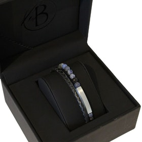 Armbandsset, beads/stålarmband, svart/blå
