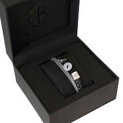 Armbandsset, läder/stålarmband, knapp, svart