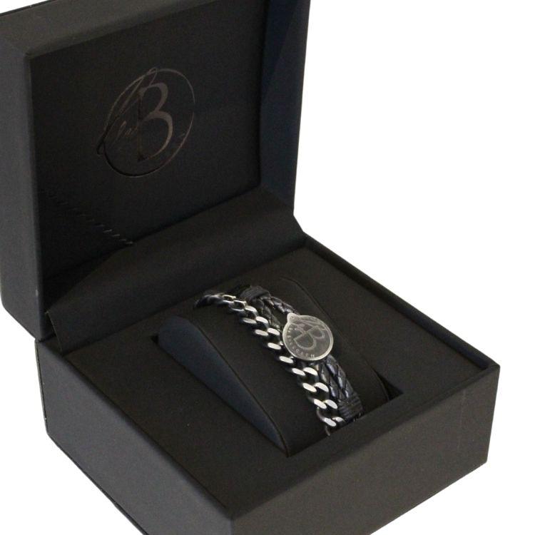 Armbandsset, läder/stålarmband, svart/svart