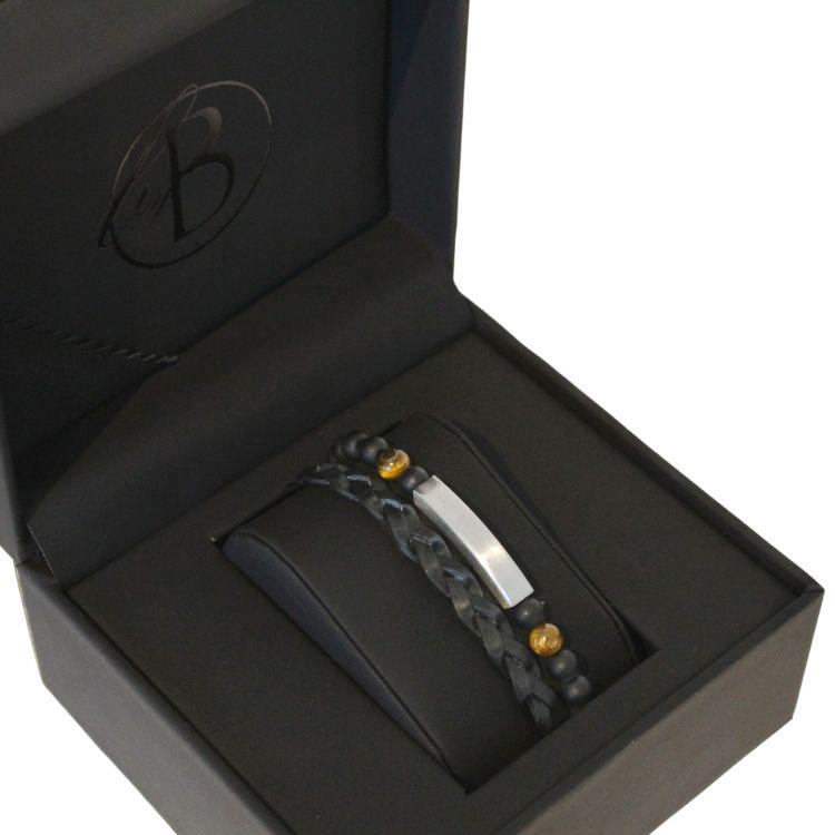 Armbandsset, läder/beadsarmband, svart/brun