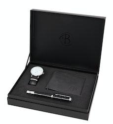 Set med klocka, läderplånbok och penna