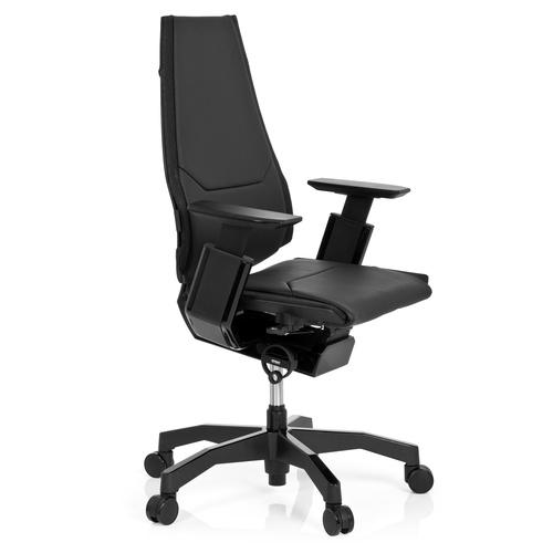 Ergonomisk kontorsstol, Minna Black - Svart skinn
