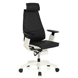 Ergonomisk skrivbordsstol, Minna Pro White - Läder