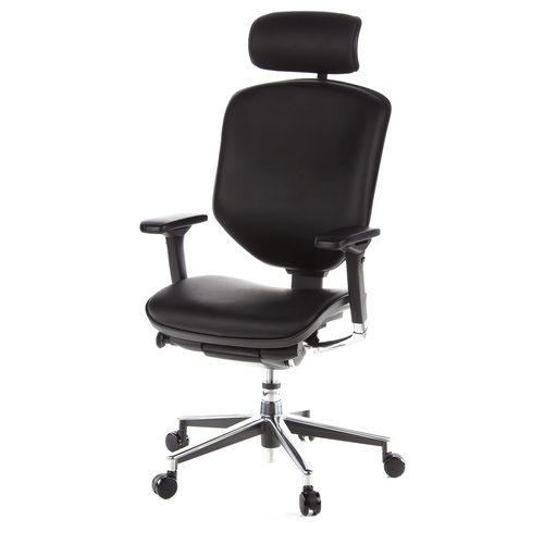 Ergonomisk skrivbordsstol, Deskia - Svart skinn
