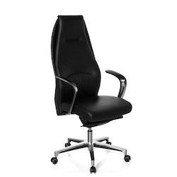 Skrivbordsstol, Rosendo High - Svart läder & aluminium