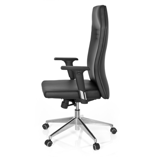 Skrivbordsstol, Eliza - Svart konstläder & aluminium